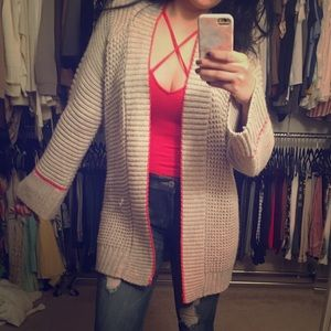 Express Taupe Open Cardigan with Coral Trim